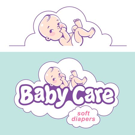 Baby care design template. Logotype with cute little baby in diaper. Standard-Bild - 133956518