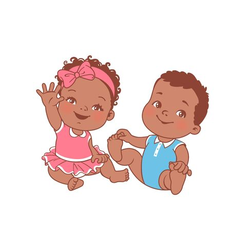 Cute little baby girl and boy sitting on white background.