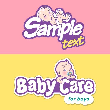 Baby care design template. Logotype with cute little baby in diaper. Standard-Bild - 133956568