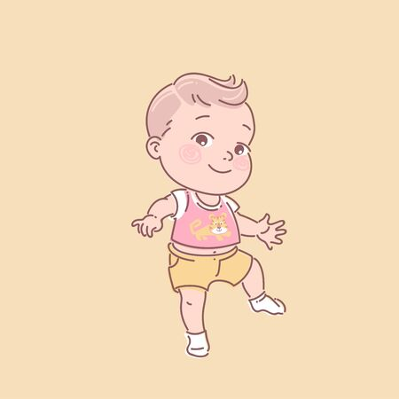 First steps. Baby clothes. Toddler illustration.First year of child. Healthy baby. Color vector illustration.