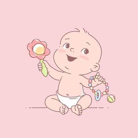 Cute toddler child with toy rattle in hand. Color vector illustration. Baby holding toys. First year games. Baby hold teething toy.   イラスト・ベクター素材