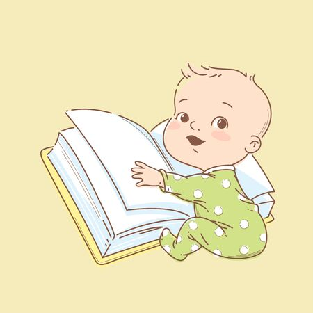 Little smart baby reading big open book.  イラスト・ベクター素材