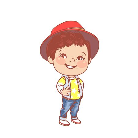 Denim clothes for children. Preschool and school fashion. outfit Smiling young boy standing. Color vector illustration.
