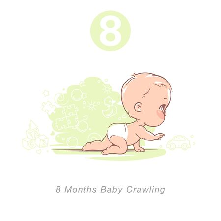 Little baby of eight month. Baby development stages in first year.