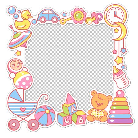 Vector frame with baby objects. Toys, accessories, clothes with transparent frame. Baby shower design template. Photo frame for baby picture. Newborn baby background. Color vector illustration. Stock Illustratie