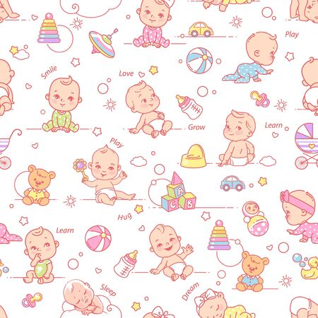 Little baby girls and boys in diaper and pajamas play, sleep, sit, crawl. Toys, clothes, icons, symbols of childhood and maternity. Endless background vector illustration.