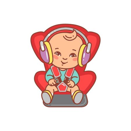 Calm baby drive, listen music, audiobook in headphones. Baby on board. Child safe and comfortable travel.Color vector illustration. Happy kid smile.
