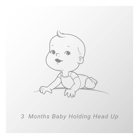 Cute little baby boy or girl lying on stomach, head up. Sketchy hand drawn style. Background with toys and objects. Vector illustration.