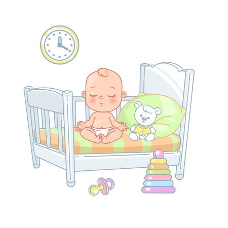 Cute little baby sitting in bed. Pretty child in diaper do not sleep at night. Calm baby meditate. White bed, pillow and sheets. Sweet baby boy, toys near bed. Kids room. Color vector illustration. Ilustração