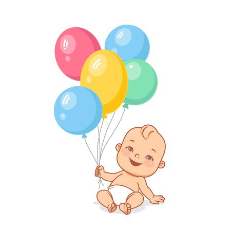 Baby in diaper holding bright balloon. Color vector illustration.  イラスト・ベクター素材