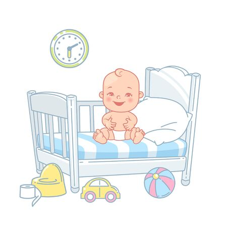 Cute little baby sit in bed. Pretty child in diaper awake. Healthy sleep. White bed, pillow and sheets. Happy baby smile. Toys near bed. Kids bedroom. Color vector illustration.