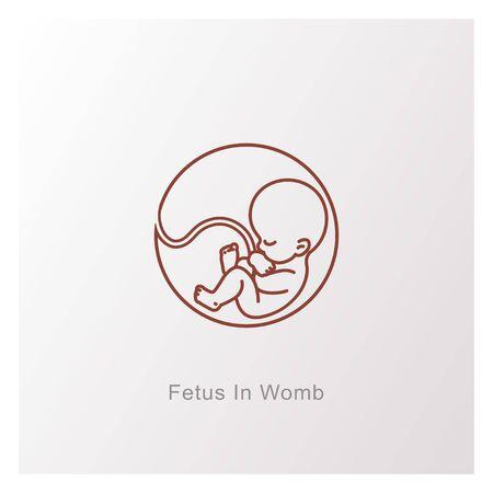 Schwangerschaft und Gesundheit. Mutter und Baby drinnen. Embryo und Nabelschnur. Mit Text unterschreiben. Medizinisches Emblem für Schwangerschaftszentrum. Monochrome Vektorillustration Vektorgrafik