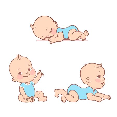 Active baby of age from 3 months to year learn to crawl, move on his stomach. First year of child. Healthy baby play.