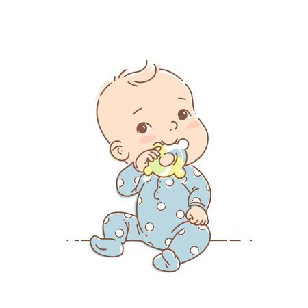 . Cute toddler child with toy in mouth. Color vector illustration. Baby wear jumpsuit. First year games. Baby hold teething toy.