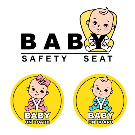 Baby sitting on car seat. Baby on board logotype.