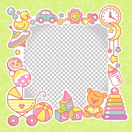 Vector frame with baby objects. Toys, accessories, clothes with transparent frame. Baby shower design template. Photo frame for baby picture. Newborn baby background. Color vector illustration. Ilustrace