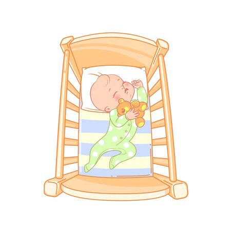 Cute little baby  sleep peacefully in bed. Ilustrace