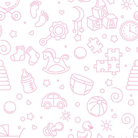 Endless background with baby stuff. Background for web site, blog, package. Toys, clothes, icons, symbols of childhood and maternity. Vector illustration.