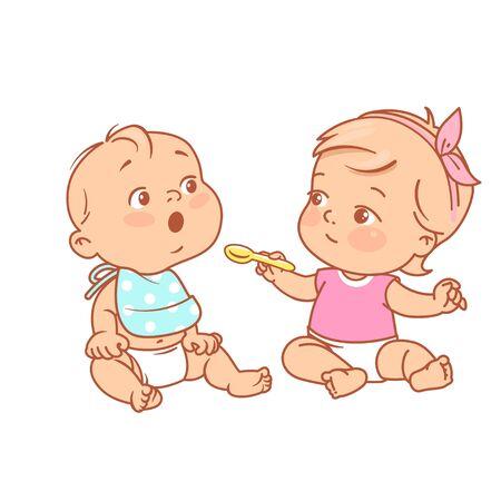 La niña sostiene la cuchara, dale comida a un amigo. Niños sentados jugando cocina, Ilustración de vector de color. Los niños fingen cenar. Niña y niño en pañal. Concepto de nutrición para bebés. Ilustración de vector