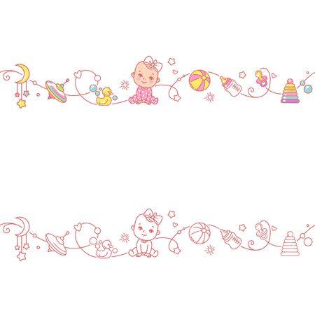 Frontera sin costuras con juguetes de niña nd. Lindo bebé en pijama sentado con objetos de bebé aislados. Borde de bebé sin fin. Ilustración de vector de color. Patrón de línea. Plantilla de diseño.