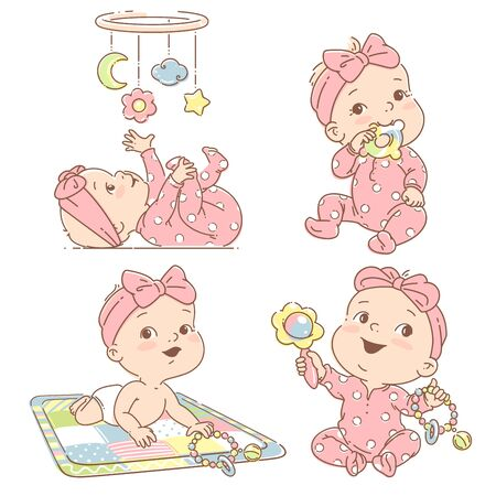 Baby hold teething toy. Baby lay on developing mat Baby look at mobile. Toddler in pajamas. Colorful vector Illustration isolated on white background