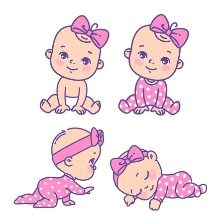 Girl in pink pajamas with bow. Child sleeping, sitting, crawling. Emblem of kid health. Vector color illustration.