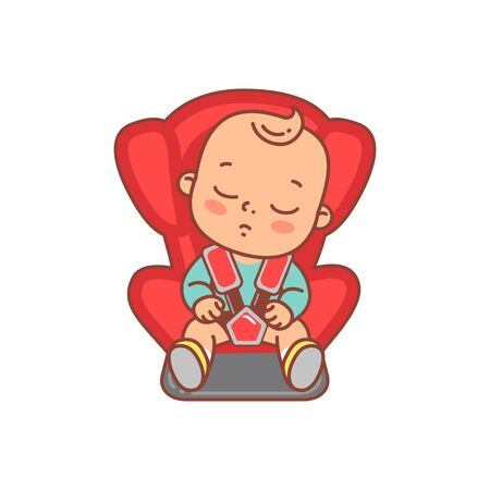 Child safe and comfortable drive in car.Family travel. Calm baby on backseat. Color vector illustration. Happy kid smile.