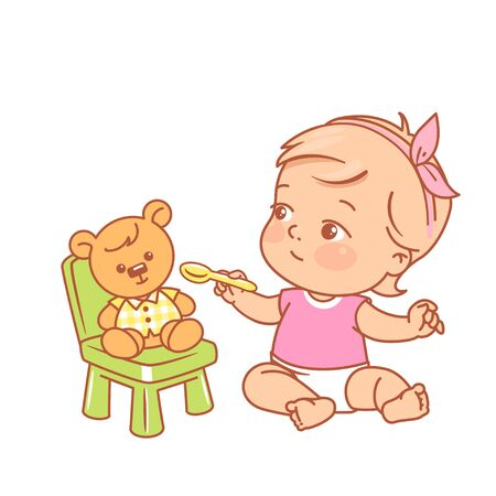 Kid sitting playing kitchen, Color vector illustration. Child pretend dinner. Girl in diaper play with toy. Baby nutrition concept.
