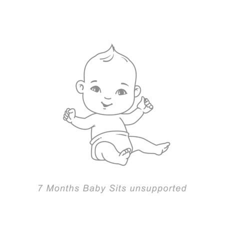 baby development milestones in first year. Cute little baby boy or girl in diaper sitting unsupported.Sketchy style. Background with toys and objects. Vector illustration.