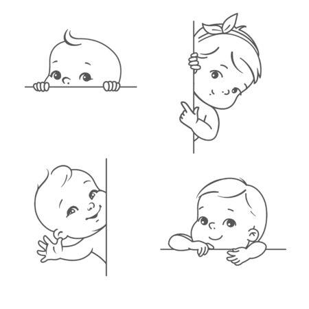 Lächelndes Kleinkind für Logo-Vorlage. Umrissskizze monochromen Stil. Nettes kleines Baby schaut heraus, winkt mit der Hand und zeigt mit dem Finger. Gesundes Kind mit Pflanzentextblase.