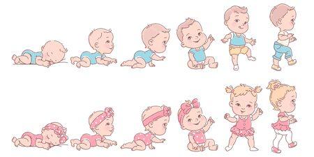 Petite fille et garçon en rang. Ensemble d'icônes de santé et de développement de l'enfant en ligne.