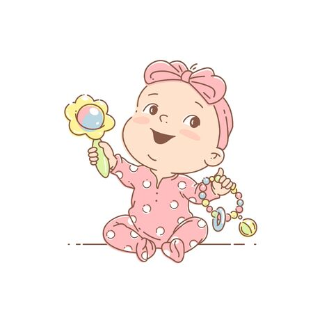 Little baby girl in pink pajamas, with bow play sitting. Illustration