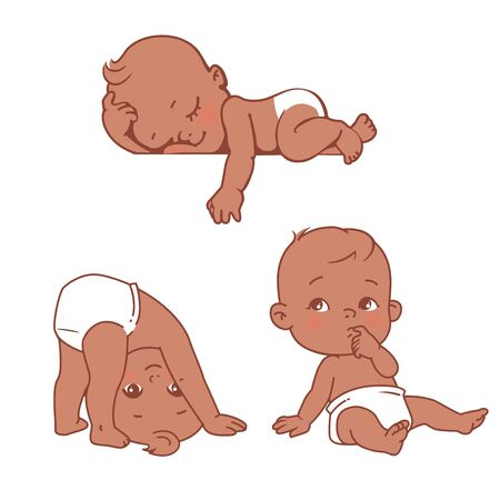 Little black toddler sits, sleeps, plays on head. African american boy or girl in diaper. Vector illustration Vectores