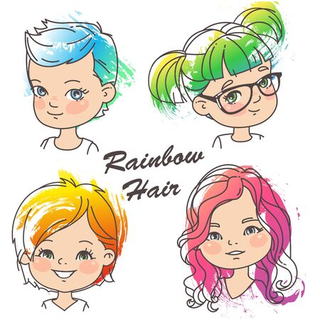 Different hairstyles of bright rainbow color.Grunge color splash, pencil strokes. Woman haircut set. Beautiful women. Children models. Vector illustration.