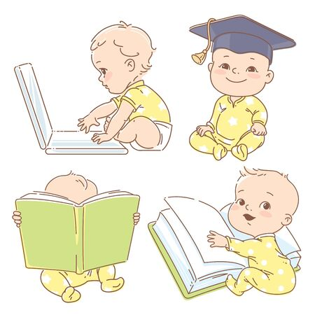 Genius little boy reading book. Toddler in graduate cap. Baby with computer. Concept of development of abilities of child and investment in the future of baby.
