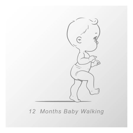 Cute little baby boy or girl in diaper walking. First steps.Sketchy style. Background with toys and objects. Vector illustration.