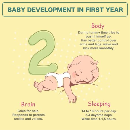 Little baby of 2 month. Physical, emotional development milestones in first year. Cute little baby boy or girl in diaper sleeping. First year. Infographics with text. Vector illustration.