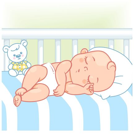 Pretty child in pajamas sleep at night. Healthy sleep. White bed, pillow and sheets. Sweet baby boy with teddy bear and toys. Kids bedroom. Color vector illustration.