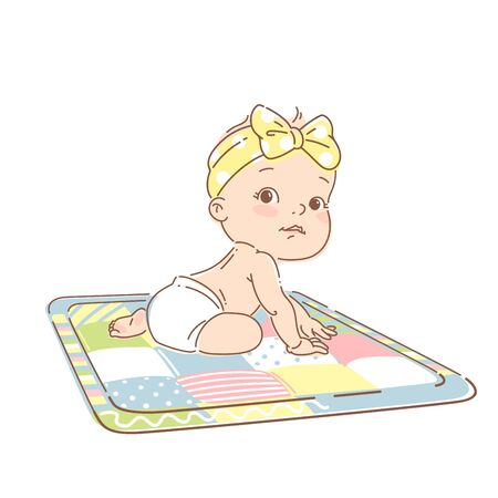 Cute little baby of 6-12 months, in diaper, sit on development mat with toys. Cute smiling toddler play toys, learn colors. Happy kid. First year activity. Color vector illustration.