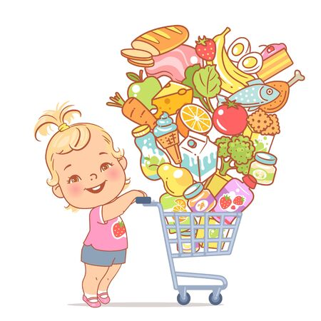 . Kid shopping in mall. Different food objects for children. Baby girl walk with shopping carriage and food isolated. Color vector illustration.