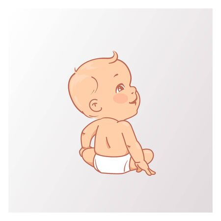 Cute little baby boy or girl in diaper. Active curious baby of age from 3 months to year look up. Development milestone. Childhood. Vector illustration.