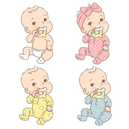 Cute toddler child with toy in mouth. Color vector illustration. Baby in jumpsuit. First year games. Baby hold teething toy.