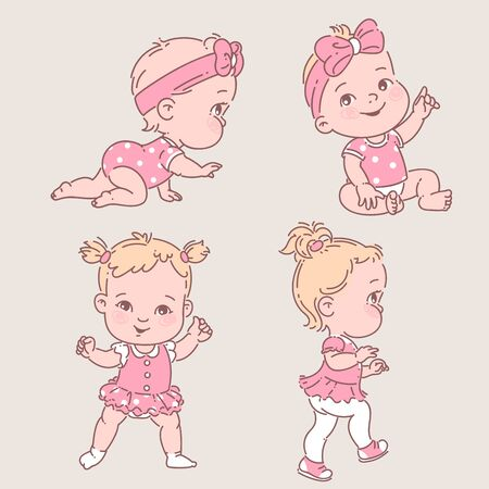 Development from six month to one year. Toddler learn to walk. First year milestones. Vector color illustration set.