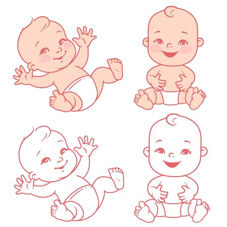 Baby girl or boy of 5-12 months sit, wave hands. Smiling one year children. Vector illustration Vetores