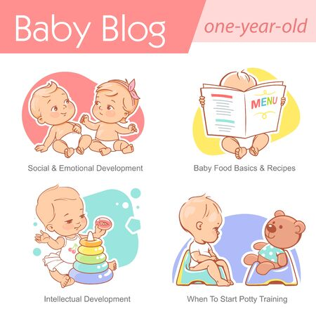 Baby illustration. One year old care and development. Baby grow, play, sit on potty. First year of child. Healthy boy or girl in diaper.Blog, media, publish design template.Vector illustration.