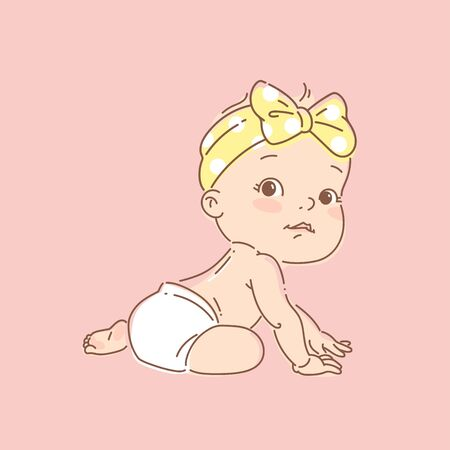 Active baby of age of 6-12 months learn to sit, crawl. First year of child milestone. Baby growth. Healthy baby play. Color vector illustration. Ilustración de vector