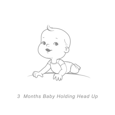 little girlLittle baby of 3 month. Baby development stages in first year. Ilustración de vector
