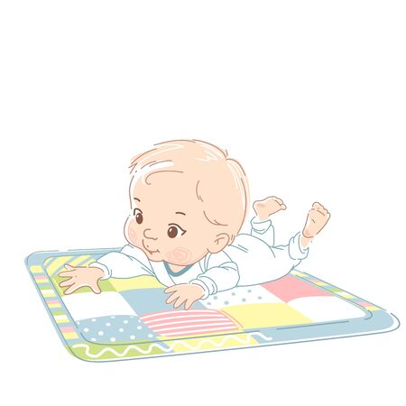 Kid wearing white bodysuit, reach out hand to object . Child early development. Kid in pajamas. Color vector illustration.