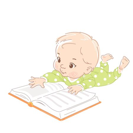 Baby boy, girl of six months learning. Boy wear green bodysuit, reach out for open book with hand. Child development, education. Baby reading. Kid in pajamas. Color vector illustration