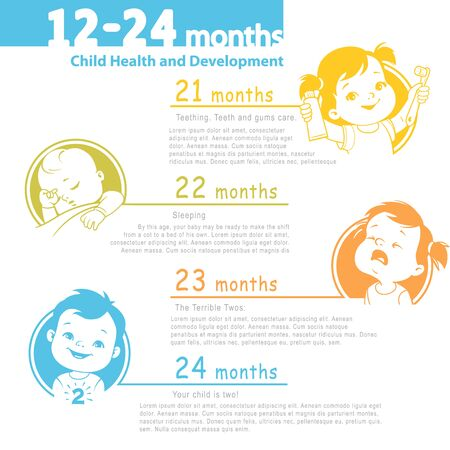 Set of child health and development icon. 21-24 months.